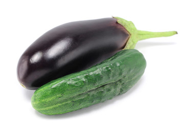 cucumber and eggplant on a white background