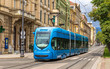 Modern tram on a street of Zagreb, Croatia - 67733784