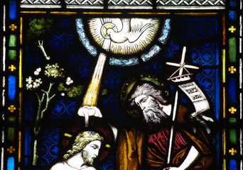 The baptism of Jesus in stained glass