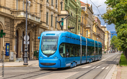 Leinwandbild Motiv Modern tram on a street of Zagreb, Croatia