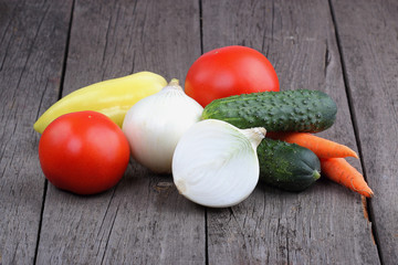 Vegetables on old wood background
