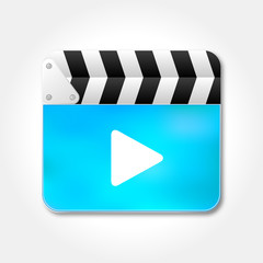 Blue clapper board icon