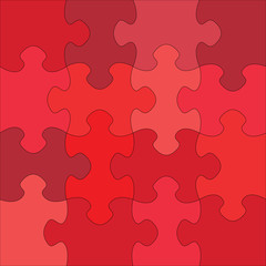 Colorful blank puzzle of 16 elements. Raster