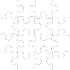 White blank puzzle of 16 elements. Raster