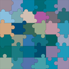 Colorful blank puzzle of 36 elements. Raster