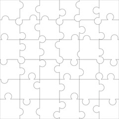 White blank puzzle of 36 elements. Raster