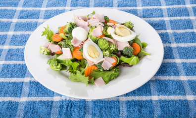 Fresh Vegetable Salad with Boiled Eggs
