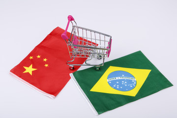 Shopping cart with Brasil and China flag