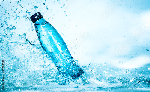 canvas print picture Bottle of water splash