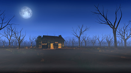 Remote wooden cabin in misty landscape with dead trees at moonli