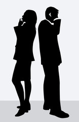 Businesswoman and businessman silhouettes