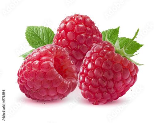 Fotobehang Vruchten Three raspberries isolated on white background