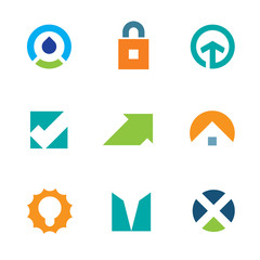 Success arrow up green care energy business logo icon set