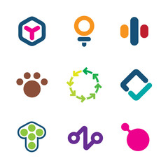 Environment friendly efficient solutions creative logo icon set