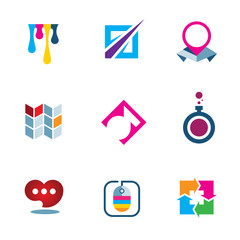 Colorful inspiration future science technology logo icon set