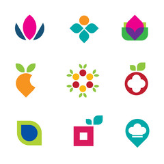 Nature fruit flower logo vector symbol food icon set