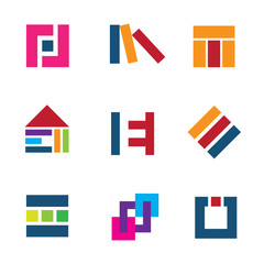 Creative building construction architecture design logo icon set