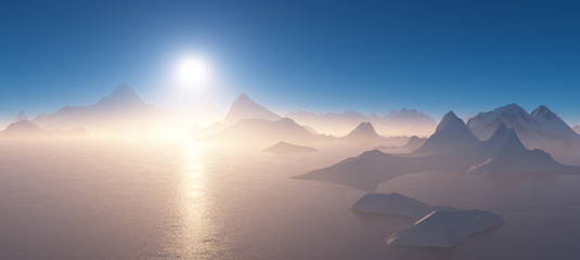 Sunrise over the mountains surrounded by water.