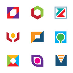 Professional logo icon set creative company brand build network