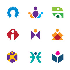 People creative tools innovation icon set construction logo