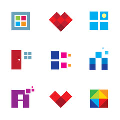 Creative pixel cube door window dimension logo icon set