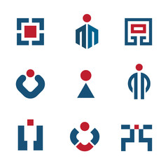 People corporate business technology sales logo vector icon set