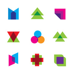 Geometric mosaic art polygons shape logo icon set vector