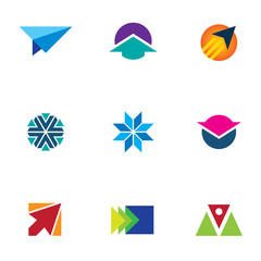 Flash air speed idea icon set arrow up sign logo