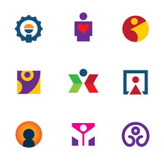 Human silhouette logo man icon set creative move