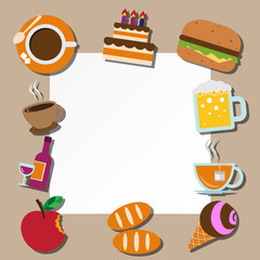 Paper note and food icons set .