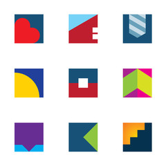 Business mosaic polygons logo set icon simple powerful brand
