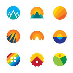Nature circle view landscape logo set mountains experience icon