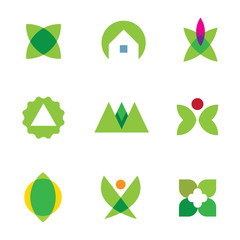 Green nature home silhouette logo set application icon vector
