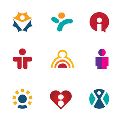 Human colorful shape icon set silhouette people logo social man