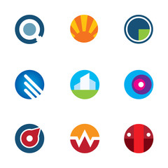 New mobile technology application circle logo set startup icon
