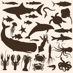 Vector Big Set of Sea Animals and Fishes Silhouettes