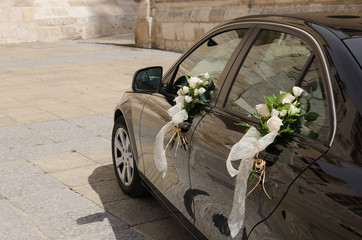 Wedding car decorated