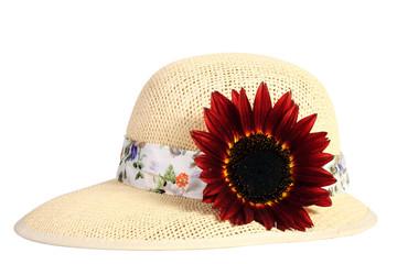 Cappello  con fiore di girasole