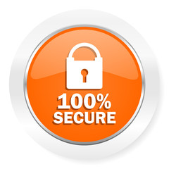 secure orange computer icon