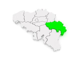Map of Liege. Belgium.