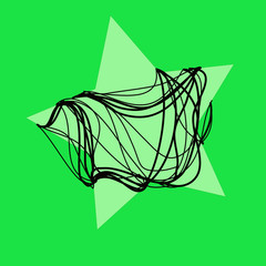 magic  green  star with black rope background