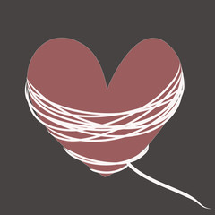Crimson heart with white rope on a gray background