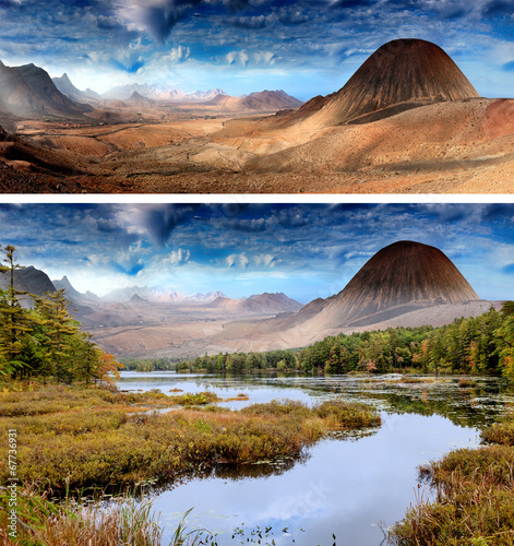 Deurstickers Fantasie Landschap landscape with lake and mountains