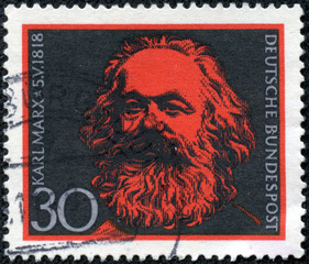 stamp printed in Germany shows Karl Marx