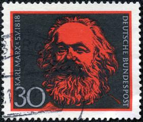 stamp printed in Germany shows Karl Marx