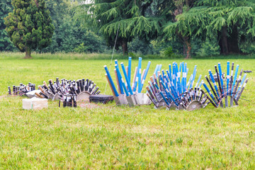 profesional fireworks preparation in the field