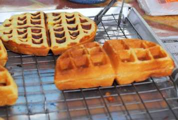 Sweet waffles in the market
