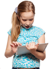 Surprised child with a Tablet PC