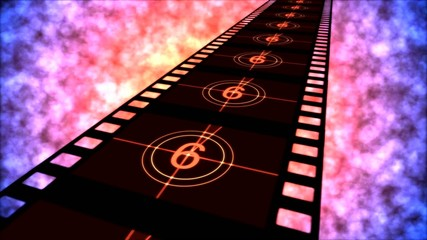 Movie Countdown Animation - Loop Red Purple