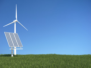 Green grass with sollar panel and wind generator